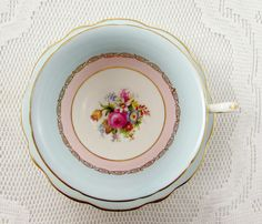Foley Tea Cup and Saucer Blue and Pink with Floral Bouquet, Vintage Bone China
