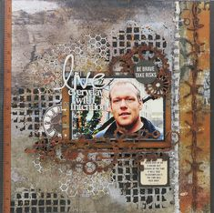 Scraps of Darkness scrapbook kits mixed media masculine grunge layout created w/our Boys Will Be Boys kit, by Kathy Mosher Scrapbook Designs, Scrapbook Page Layouts, Scrapbook Pages, Scrapbook Kit, Photo Layouts, Mixed Media Scrapbooking, Scrapbooking Ideas, Birthday Scrapbook, Scrapbook Embellishments