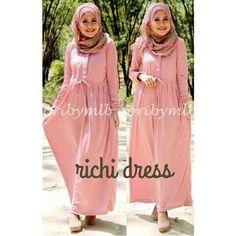 baju muslim spandek richi dress pink, bahan spandek harga 65k www.ramailancar.com www.facebook.com/tokobajurajutmurah 0896 5491 5119