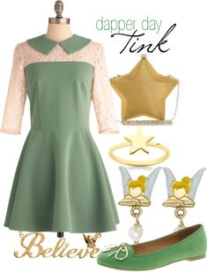 """""""Dapper Day Tinkerbell"""" @Becky Hui Chan Collins I don't know if you've heard about Disneybounding or about Dapper Day at the Disney Parks, but I thought this might interest you =]"""