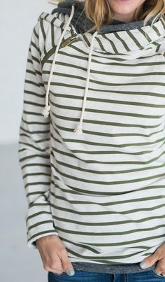 Double Hooded Sweatshirt - Olive Stripe - Mindy Mae's Market