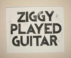 Ziggy Played Guitar linocut lyric print David Bowie by VideoUnit12