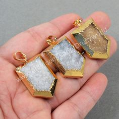 Wholesale  Listing Gold Plated Shield Natural Agate Druzy Pendant Bead Gold Electroplated Gemstone Jewelry Druzy Jewelry G0578 by Druzyworld on Etsy
