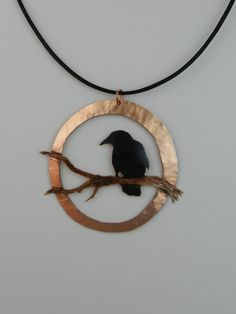 Handcrafted black patina gothic copper crow pendant