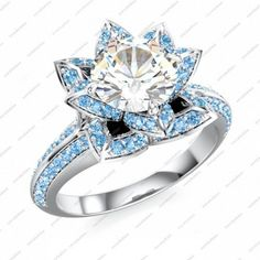 14K White GP 925 Silver Disney Princess Lotus CZ Ring Free Shipping via VorraFashion