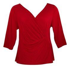 LANE BRYANT 22/24, 26/28 Red Surplus 3/4 Sleeve Holiday Top Blouse-NWOT ($39)#Lane Bryant#Womens#PlusSize#Top#Holiday