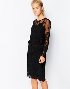 Navy | Navy Embroidered Lace Midi Dress with Drawstring Waist at ASOS