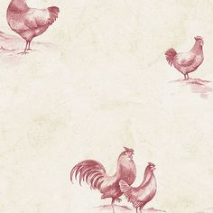 """Norwall Wallcoverings Inc Kitchen Elements 32.7' x 20.5"""" Delft Chicken Wallpaper Color: Red / Cream"""
