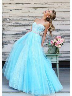 A-Line/Princess Sweetheart Sleeveless Beading Floor-Length Tulle Dresses JollyProm