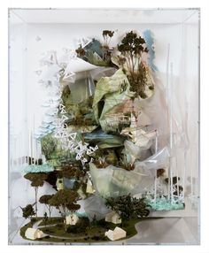 Gregory Euclide produces these miniature landscapes with complex detail using graphite, acrylic and ink in traditional landscape painting fused with found plastic bags, foam, pinecones, sage, moss and paper