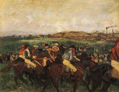 Gentlemen Jockeys before the Start, 1862 by Edgar Degas. Impressionism. genre painting. Musée d'Orsay, Paris, France
