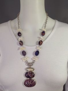 Chunky gemstone y-necklace with white biwa pearls and purple imperial jasper on chunky rolo chain - Michela Rae
