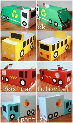 Box Car Tutorial {Part 2 – larger truck} Thanks for your interest in our box vehicles and for your patience while waiting for this tutorial. These larger trucks each use nappy/diaper boxes, for cars using only one box see Part 1 ̵… Cardboard Car, Cardboard Crafts, Cardboard Playhouse, Cardboard Furniture, Shoebox Crafts, Craft Activities, Toddler Activities, Diy For Kids, Diy Home