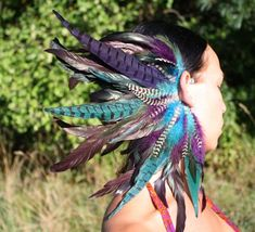 Handmade Large Feather Ear Cuff Feather Headpiece Tribal - Wonder how this would look with my ren outfit Feather Headpiece, Feather Hat, Blue Feather, Feather Earrings, Fascinator, Burning Man, Oregon Country Fair, Feather Symbolism, Fair Outfits