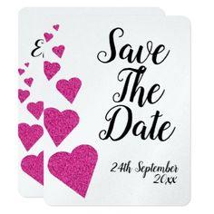 navy blue glitter heart wedding save the date card wedding
