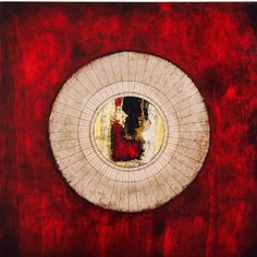 "© Miriam Da Silva  Série ""Cosmos"" ""Lua Concêntrica vermelha"" 2016 40 x 40 cm Oil, paper, ink and etching on wood  Private collection"