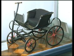 """1775-1799 British Child's carriage at the Victoria and Albert Museum, London - From the curators' comments: """"These carriages were often designed to be pulled rather than pushed, since they developed from horse-drawn carriages. Some children's carriages had two shafts for a pony; others, like the one seen here, had one, which would probably have been pulled by a servant."""""""
