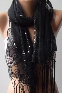 Black Elegance Shawl \  Scarf by womann on Etsy