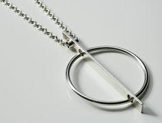 Pendant & Chain Designed by Helga & Bent Exner for Hans Hansen Denmark c.1960 Sterling Silver Signed Hans Hansen 72 grams chain 84 cm long