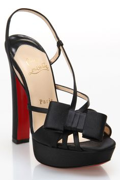 Louboutin Sandal with Bow In Black.