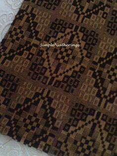 "BLACK / TAN WOVEN PRAIRIE STAR TABLE RUNNER 33"" x 15"" Cotton/Acrylic Primitive #UNKNOWN"