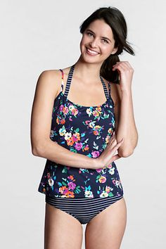decd09a88e6e4 {Women's SwimMates Floral Scoopneck Cami Swimsuit Top from Lands' End} -  love mixing patterns.