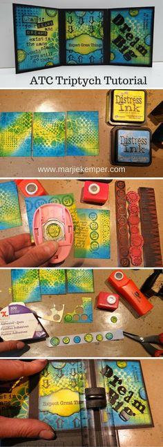 ATC Triptych Tutorial using Artist Trading Cards (ATCs) - Marjie Kemper