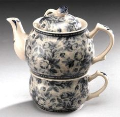 Tea For One Teapot Blue Floral Porcelain China