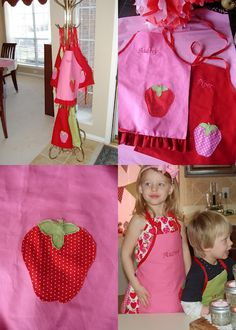 Adorable strawberry aprons