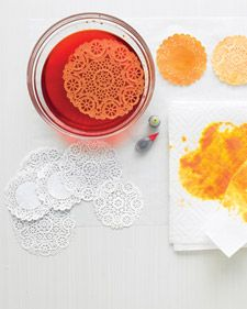 Transform traditional doilies with a dip in dye. The color makes their lacy patterns look fresh and modern. Use them the familiar way, to line plates of sweets, or turn them into gift wrap.