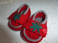 crocheted red and gray baby loafers on Etsy, $13.00