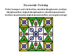 3rd+Grade+Math+Literacy+Printable+Geometric+Coloring+Following+Directions+Colors+Red+Yellow+Green+Pink+Blue+Orange+Circle+Triangle+Square+Hexagon+Rectangle.+Emergent+Reader.+Critical+Thinking.+2+pages.+