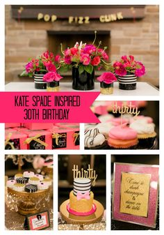 Glitz and glam take center stage in this jaw-dropping Kate Spade inspired birthday party! - Pretty My Party 30th Party, 30th Birthday Parties, 30 Birthday, Birthday Ideas, Party Deco, Kate Spade Party, A Little Party, Burger Bar, Festa Party