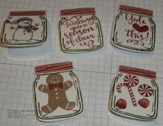Cottage Lane Stamper: Jar of Cheer Gift Tags, using bundle from Jar of Love and also Snowplace, Scentsational and Candy Cane Lane stamp sets.