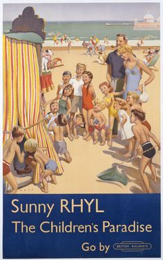 Colour lithograph poster showing a crowd of young children on the beach, gathered around a Punch and Judy show. Designed by Douglas Lionel Mays and issued by the London Midland Region, British Railways, Museum Number Posters Uk, Train Posters, Railway Posters, Poster Prints, British Travel, British Seaside, Seaside Uk, British Isles, British Airways