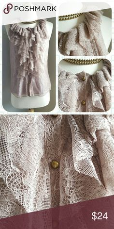 Anthropologie Sustiva Blouse by Robbi and Nikki How I wish this fit me! This all-over lavender lace number is absolutely stunning - complete with brass buttons and fully lined. Size small. Excellent condition. Anthropologie Tops Blouses