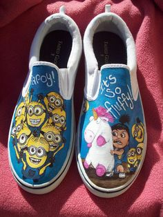Despicable Me Minion Agnes and Unicorn Custom Painted Shoes.  Waaaay too cute.! (((:♥