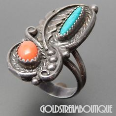 Native American Old Dead Pawn Navajo Sterling Silver Coral & Turquoise – Gold Stream Boutique