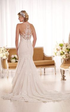 D1910 Vintage Fit-and-Flare Wedding Dress With Illusion Lace Neckline by Essense of Australia