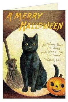 This charming vintage Halloween card from Cavallini features a sweet, if just a bit spooky, black cat. Printed on beautiful Italian paper, with glistening glitter accents. Vintage Halloween Images, Rustic Halloween, Halloween Pictures, Vintage Holiday, Halloween Doodle, Halloween Prints, Halloween Boo, Holidays Halloween, Halloween Ideas