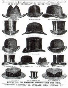 1920 Types of Mens Hats- Tops Hats, Bowlers, Homburgs, straw Boaters