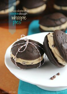 Chocolate Chip Cookie Dough Whoopie Pies – Dessert sandwiches filled with chocolate chips and edible cookie dough.