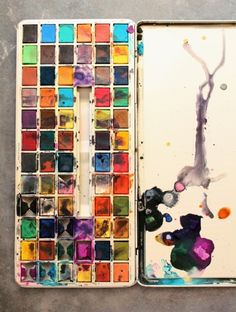 wow... this is fantastic! --the way that the watercolor spontaneously or subconsciously creates an artful piece by itself. I feel that way sometimes when I look at my own watercolor palette.
