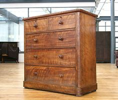 Antique Chest Of Drawers Victorian Satinwood & Oak 19th Century Large £595.00
