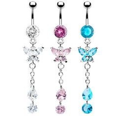 Jeweled navel ring with jeweled butterfly and chain dangle.  #bellyring #piercing #bodypiercings #bodyjewelry #butterfly ♥ $10.99 via OnlinePiercingShop.com