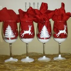 White Christmas shimmery reindeer and pine tree hand painted wine glasses Decorated Wine Glasses, Hand Painted Wine Glasses, Painted Wine Bottles, Wine Glass Crafts, Wine Craft, Wine Bottle Crafts, Wine Bottle Glasses, Diy Glasses, Christmas Wine Glasses