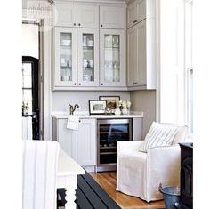 After: Bar sink and wine fridge - Style At Home Kitchen Interior, Kitchen Decor, Kitchen Design, Kitchen Ideas, Kitchen Buffet, Pantry Ideas, Kitchen Colors, Kitchen Inspiration, Kitchen And Bath