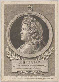 Jean Baptiste Lully [born Giovanni Battista Lulli] (1632-1687), engraving (1770), drawn by Charles-Nicolas Cochin (1715-1790), engraved by Augustin de Saint-Aubin (1736-1807), after a bust (1689), by Gaspard Collignon (1673-1702).