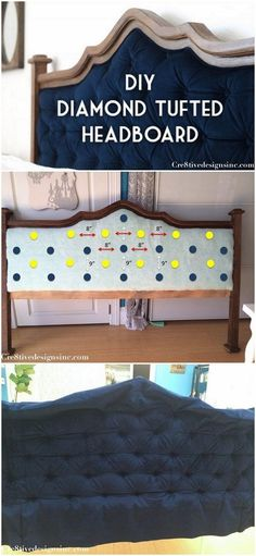 Check out this tutorial on how to make a #DIY diamond tufted headboard. Looks easy enough! #BedroomIdeas #HomeDecorIdeas @istandarddesign