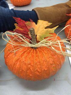 Pumpkins out of dryer hose! Nice fall center piece for a table. Dryer Hose, Pumpkins, A Table, Centerpieces, Vegetables, Halloween, Nice, Fall, Ideas